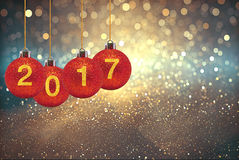 Happy new year 2017 on Abstract  background. Happy new year 2017  Abstract bokeh background.Can be used bokeh texture and bokeh background Stock Photography