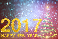 Happy new year 2017 on Abstract  background. Happy new year 2017  Abstract bokeh background.Can be used bokeh texture and bokeh background Stock Image
