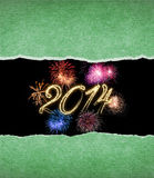 Happy New Year 2014. Abstract background with firework and torn paper Stock Photos