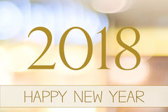 2018 Happy New Year on abstract blur festive bokeh background stock image