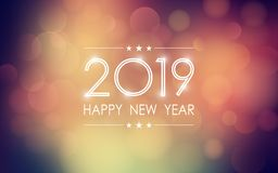 Happy new year 2019 with abstract bokeh and lens flare pattern in vintage color style background. Happy new year 2019 with abstract bokeh and lens flare pattern royalty free illustration
