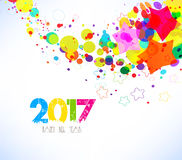 Happy new year 2017. Abstract colorful background.  Stock Image