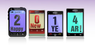 Happy New Year. Abstract colorful background with four smartphones with the text 2014 Happy New Year Stock Images