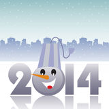 Happy New Year. Abstract colorful background with the number 2014 reflecting on ice and a snowmans head standing instead of the zero number. New Year concept royalty free illustration