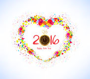 Happy new year 2016. Abstract colorful heart shape background Stock Image
