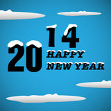 Happy New Year. Abstract colorful illustration with blue sky, clouds and the text 2014, Happy New Year written with black snowy letters Stock Photos