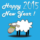 Happy New Year. Abstract colorful illustration with a white sheep on a blue background and the text Happy New Year 2015 written with white letters vector illustration
