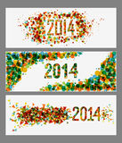 Happy New Year 2014 abstract colors banner set. Happy new year 2014 holidays contemporary colors banner design background. EPS10 vector file with transparency stock illustration