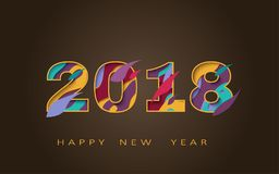 2018 happy new year, abstract design 3d, vector illustration Royalty Free Stock Photos