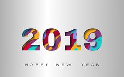 2019 happy new year, abstract design 3d, vector illustration. Layered realistic, for banners, posters flyers royalty free illustration