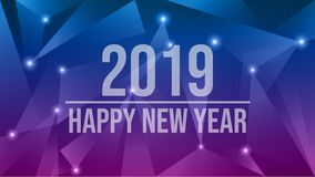 Happy New Year 2019. Abstract futuristic new year eve 2019 vector background stock photography