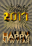 Happy new year with abstract geometric shape and number. Happy new year 2017 ,Abstract geometric number and shape,Vector illustration for holiday design,golden Stock Images