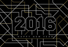 Happy new year abstract 2016 gold deco outline. Happy new year abstract deco gold design with 2016 sign in outline style. Ideal for holiday greeting card, poster Stock Photos