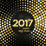 Happy New Year 2017 abstract golden round shimmer background. Happy New Year 2017 round golden shimmer background made of abstract spangles for your greeting stock illustration