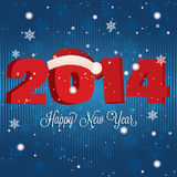 Happy new year. Abstract happy new year and 2014 with hat on special blue background Royalty Free Stock Image