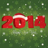 Happy new year. Abstract happy new year and 2014 with hat on special green background Royalty Free Stock Photos