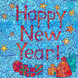 Happy New Year: abstract mosaic greeting card design with text. Illustration Stock Photography