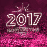 2017 happy new year on Abstract pink glitter perspective backgro Stock Photos