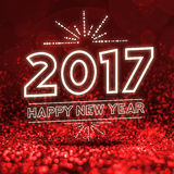2017 happy new year on Abstract red glitter perspective backgrou. Nd Royalty Free Stock Images