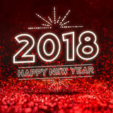 Happy new year 2018  on Abstract red glitter studio perspective. Background,Holiday seasonal greeting card Stock Images
