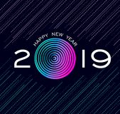 Happy New Year 2019 abstract technology design vector illustration