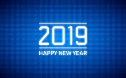 Happy new year 2019 in abstract technology polka dots led on dark blue color background. Happy new year 2019 in abstract technology polka dots led on dark blue stock illustration