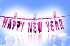 Happy new year 2014. Abstract text with fur effects on cloudy skyblue background Royalty Free Stock Photo