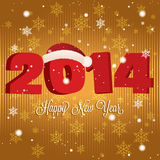 Happy new year. Abstract happy new year text and 2014 with hat on special gold background Royalty Free Stock Photography