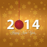 Happy new year. Abstract happy new year text and 2014 on special gold background Royalty Free Stock Image