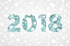2018 Happy New Year abstract triangle illustration. Gray blue white gradient background with snowflakes, sparkles, lights, snow. 2018 Happy New Year abstract vector illustration