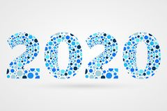 2020 Happy New Year abstract vector illustration. Blue bubbles symbol. Decorative sign with circles. 2020 Happy New Year abstract vector illustration. Bubbles Royalty Free Stock Photo