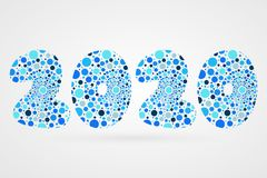 2020 Happy New Year abstract vector illustration. Bubbles symbol. Decorative sign with circles. 2020 Happy New Year abstract vector illustration. Bubbles symbol Royalty Free Stock Photo