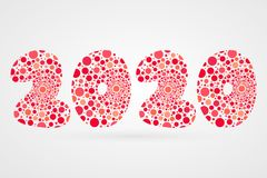 2020 Happy New Year abstract vector illustration. Bubbles symbol. Red funny decoration element for design, cartoon. 2020 Happy New Year abstract vector Royalty Free Stock Photos