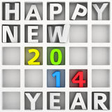 Happy New 2014 Year. Abstract white shelf with words Happy New Year stock illustration