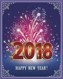 Happy New Year of 2018 against the background of fireworks. In the frame with an ornament Royalty Free Stock Photos