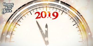 Composite image of happy new year. Happy new year against glowing christmas background stock illustration