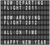 Happy New Year Airport Terminal Background. With blank tiles vector illustration