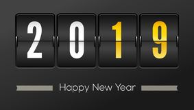 Happy new year 2019. Airport time table with numbers. Flip countdown timer with number of year. Countdown timer. Mechanical scoreboard of counter of elapsed royalty free illustration