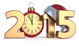 Happy New Year 2015 alarm clock Christmas ball Stock Photography