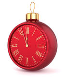 Happy New Year alarm clock Christmas ball Stock Photo
