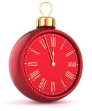 Happy New Year alarm clock countdown bauble Christmas ball Royalty Free Stock Images