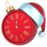 Happy New Year alarm clock countdown bauble Christmas ball. Ornament decoration Santa hat icon red. Wintertime traditional midnight future beginning souvenir Royalty Free Stock Photo