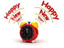 Happy New Year with Alarm clock Stock Images