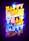 Happy new year all night party calligraphic design. Royalty Free Stock Images