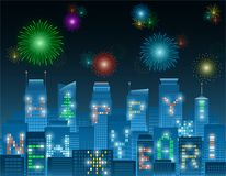 Happy new year alphabet buildings at night. Colorful Happy New Year alphabets on illuminated windows of high rise buildings grouping in a night city with Stock Photos