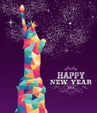 Happy new year 2016 america color triangle hipster. Happy new year 2016 greeting card or poster design with colorful triangle New York and vintage label Royalty Free Stock Photo
