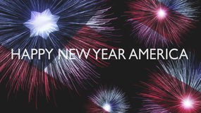 Happy New Year America. Fireworks. Happy New Year America. Flag and Fireworks Royalty Free Stock Photography