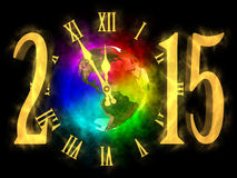 Happy new year 2015 - America. Illustration of rainbow planet Earth - America. Cosmic clock and numbers 2015. Happy new year 2015 Stock Photo