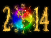 Happy new year 2014 - America. Illustration of rainbow planet Earth, cosmic clock and numbers 2014. Happy new year 2014. You can see America royalty free illustration