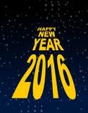 Happy new year amid the black sky. Dark space and stars.  Royalty Free Stock Photos
